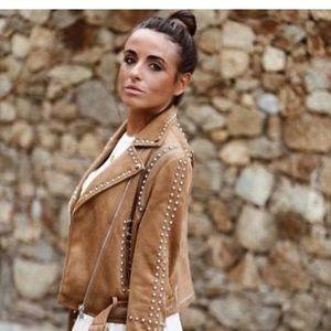 Zara Camel Moto Jacket